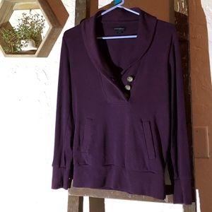 Plum  Shawl- collar sweater